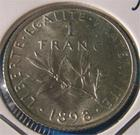 Photo numismatique  Monnaies Monnaies Françaises Troisième République 1 Franc 1 Franc Roty Type semeuse 1898 G.467 SUP à FDC