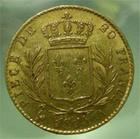 Photo numismatique  Monnaies Monnaies Fran�aises Louis XVIII 20 Francs or LOUIS XVIII, 20 Franc or au buste habill�, 1814 A, Gadoury 1026 TTB