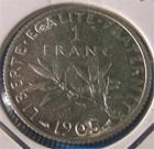 Photo numismatique  Monnaies Monnaies Françaises Troisième République 1 Franc 1 Franc Roty type semeuse 1905 G.467 TTB+