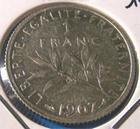 Photo numismatique  Monnaies Monnaies Françaises Troisième République 1 Franc 1 Franc Roty type semeuse 1907 G.467 SUP