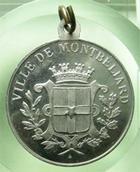 Photo numismatique  Monnaies Médailles Franche Comté Médaillette avec belière MONTBELIARD, 1911, centenaire du collège Cuvier, médaillette avec belière, SUPERBE