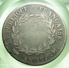 Photo numismatique  Monnaies Monnaies Françaises 1er Empire 5 Francs NAPOLEON Ier, Consulat, AN 12 M, Toulouse, 5 francs, Gadoury 577 TB