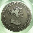 Photo numismatique  Monnaies Monnaies Françaises Napoleonides 5 Franchi Italie, Italia, Lucca Piombino, principauté, 5 franchi 1805, Gigante 1 TTB