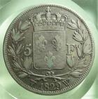 Photo numismatique  Monnaies Monnaies Françaises Charles X 5 Francs CHARLES X, 5 francs 1829 W Lille, Gadoury 644 TB à TTB