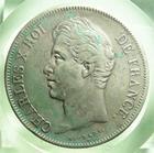 Photo numismatique  Monnaies Monnaies Françaises Charles X 5 Francs CHARLES X, 5 francs 1827 D Lyon, Gadoury 644 TTB
