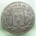 Photo numismatique  Monnaies Monnaies Françaises Louis XVIII 5 Francs LOUIS XVIII, 5francs 1822 W Lille, Gadoury 614 TTB