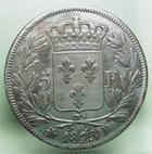 Photo numismatique  Monnaies Monnaies Fran�aises Louis XVIII 5 Francs LOUIS XVIII, 5francs 1823 D Lyon, Gadoury 614 TTB
