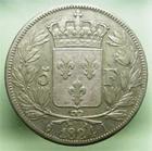 Photo numismatique  Monnaies Monnaies Françaises Louis XVIII 5 Francs LOUIS XVIII, 5francs 1824 I Limoge, Gadoury 614 TB+