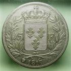 Photo numismatique  Monnaies Monnaies Fran�aises Louis XVIII 5 Francs LOUIS XVIII, 5 francs 1817 Q Perpignan, Gadoury 614 TTB/TTB+