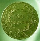 Photo numismatique  Monnaies Monnaies Françaises Consulat 40 Francs or BONAPARTE premier consul, AN 12 A, 40 francs or, Gadoury 1080 TTB
