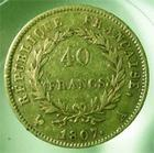 Photo numismatique  Monnaies Monnaies Françaises 1er Empire 40 Francs or NAPOLEON Ier, 40 francs or, 1807 A, Gadoury 1082a TB+/TTB