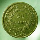 Photo numismatique  Monnaies Monnaies Françaises 1er Empire 20 Francs or NAPOLEON Ier 1807 A, 20 francs or, tête laurée, Gadoury 1024 TTB