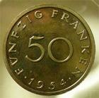 Photo numismatique  Monnaies Monnaies Françaises Sarre 50 Francs SARRE, 50 francs