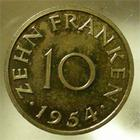 Photo numismatique  Monnaies Monnaies Françaises Sarre 10 Francs SARRE, 10 francs