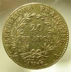 Photo numismatique  Monnaies Monnaies Françaises 1er Empire 20 Francs or BONAPARTE PREMIER CONSUL, 20 francs or AN 12 A Paris, Gadoury 1020 TB à TTB