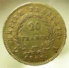 Photo numismatique  Monnaies Monnaies Française en or 1er Empire 20 Francs or NAPOLEON Ier, 20 francs or 1809 A Paris, Gadoury 1025 TTB