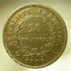 Photo numismatique  Monnaies Monnaies Françaises 1er Empire 20 Francs or NAPOLEON Ier, 20 francs or 1808 A Paris, Gadoury 1024 TTB