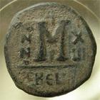 Photo numismatique  Monnaies Monnaies Byzantines 6ème siècle Follis, folles,  MAURICE TIBERE, 582.602, follis Antioche, 26/27 mm, 10.87 grammes, S.533 TB+