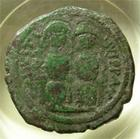 Photo numismatique  Monnaies Monnaies Byzantines 6ème siècle Follis, folles,  JUSTIN II, 565.578, follis Nicomedie, 30/31mm, 14.90 grammes, S.369 TB+