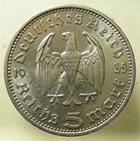 Photo numismatique  Monnaies Monnaies étrangères Allemagne 3ème reich 5 Mark TROISIEME REICH, THIRD REICH, 5 mark Hindenburg 1934 A, KM.86 SUPERBE