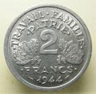 Photo numismatique  Monnaies Monnaies Françaises Etat Français 2 Francs 2 Francs type Bazor 1944 C, Gadoury 536 SUPERBE à FDC