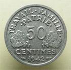 Photo numismatique  Monnaies Monnaies Françaises Etat Français 50 Centimes ETAT Français, 50 centimes Bazor 1942, G.425 SUPERBE
