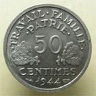 Photo numismatique  Monnaies Monnaies Françaises Etat Français 50 Centimes ETAT Français, 50 centimes Bazor 1944 B, G.425 SUPERBE +