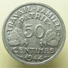 Photo numismatique  Monnaies Monnaies Françaises Etat Français 50 Centimes ETAT Français, 50 centimes Bazor 1944 C, G.425 TTB+