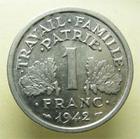 Photo numismatique  Monnaies Monnaies Françaises Etat Français 1 Franc ETAT Français, 1 franc Bazor 1942, G.471 SUPERBE +