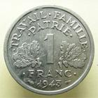 Photo numismatique  Monnaies Monnaies Françaises Etat Français 1 Franc ETAT Français, 1 Franc Bazor 1943, G.471 SUPERBE +