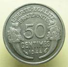 Photo numismatique  Monnaies Monnaies Françaises Gouvernement Provisoire 50 Centimes GOUVERNEMENT PROVISOIRE, 50 Centimes morlon 1944, G.426a TTB+