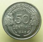 Photo numismatique  Monnaies Monnaies Françaises Etat Français 50 Centimes GOUVERNEMENT PROVISOIRE, 50 Centimes Morlon 1945, G.426a SUPERBE +