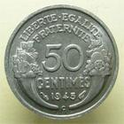 Photo numismatique  Monnaies Monnaies Françaises Gouvernement Provisoire 50 Centimes GOUVERNEMENT PROVISOIRE, 50 Centimes Morlon 1945 C, G.426a SUPERBE +