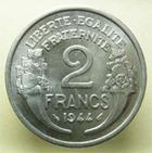 Photo numismatique  Monnaies Monnaies Françaises Gouvernement Provisoire 2 Francs GOUVERNEMENT PROVISOIRE, 2 Francs Morlon 1944, G.538a SUPERBE + Rare en cet état!