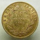 Photo numismatique  Monnaies Monnaies Française en or Second Empire 10 Francs or NAPOLEON III, 10 francs or lauré, 1862 BB, G.1015 TTB