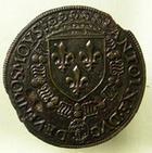 Photo numismatique  Monnaies Jetons Bourbon / Vendome Jeton laiton ANTOINE DE BOURBON, Duc de Vendôme, 1518.1562, Jeton en laiton, 27 mm, FEU.8264 TTB+ Rare!