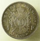Photo numismatique  Monnaies Monnaies Françaises Second Empire 1 Franc NAPOLEON III, 1 franc lauré 1869 A Paris, G.463 SUPERBE