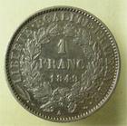 Photo numismatique  Monnaies Monnaies Françaises Deuxième République 1 Franc DEUXIEME REPUBLIQUE, 1 franc type Cérès 1849 A Paris, G.457 TTB à SUPERBE