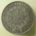 Photo numismatique  Monnaies Monnaies Françaises Troisième République 1 Franc TROISIEME REPUBLIQUE, 1 franc type Cérès 1872 K Bordeaux, G.465 TTB+