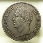 Photo numismatique  Monnaies Monnaies Françaises Charles X 5 Francs CHARLES X, 5 francs 1827 B Rouen, G.644 TTB/TTB+