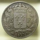 Photo numismatique  Monnaies Monnaies Fran�aises Charles X 5 Francs CHARLES X, 5 francs 1827 B Rouen, G.644 TTB/TTB+