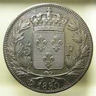 Photo numismatique  Monnaies Monnaies Fran�aises Charles X 5 Francs CHARLES X, 1830 A Paris, 5 francs, G.644 TTB/TTB+