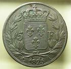 Photo numismatique  Monnaies Monnaies Fran�aises Charles X 5 Francs CHARLES X, 1825 A Paris, 5 francs, G.643 TTB traces de nettoyage!