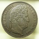Photo numismatique  Monnaies Monnaies Françaises Louis Philippe 5 Francs LOUIS PHILIPPE Ier, 5 francs 1838 W Lille, G.678 petites marques sinon SUPERBE