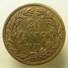 Photo numismatique  Monnaies Monnaies Françaises Louis Philippe 20 Francs or LOUIS PHILIPPE Ier, 20 francs or non lauré, 1831 A Paris, tranche en relief, G.1030a TTB