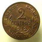 Photo numismatique  Monnaies Monnaies Françaises Troisième République 2 Centimes 2 centimes Dupuis 1912, G.107 SUPERBE