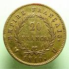 Photo numismatique  Monnaies Monnaies Française en or 1er Empire 20 Francs or NAPOLEON Ier, 20 francs or 1810 U Turin, G.1025 Bon TTB Rare!