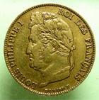 Photo numismatique  Monnaies Monnaies Fran�aises Louis Philippe 20 Francs or LOUIS PHILIPPE Ier, 20 francs or 1842 W Lille, G.1031 TTB