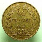 Photo numismatique  Monnaies Monnaies Fran�aises Louis Philippe 20 Francs or LOUIS PHILIPPE Ier, 20 francs or 1843 A Paris, G.1031 TTB