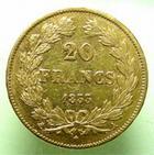 Photo numismatique  Monnaies Monnaies Fran�aises Louis Philippe 20 Francs or LOUIS PHILIPPE Ier, 20 francs or 1833 A Paris, G.1031 TTB